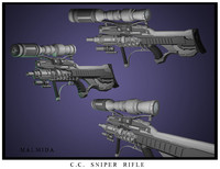 3d model sniper rifle cc